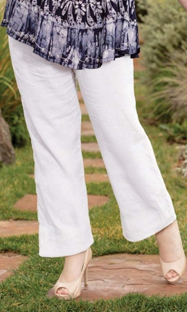 Wide Leg Linen Solid Plus Size Pants 2X-8X