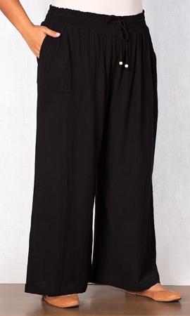 Sale Drawstring Cotton Rayon Wide Leg Pants