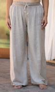 Drawstring Cotton Rayon Wide Leg Pants
