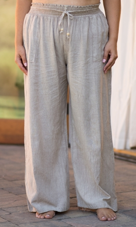 Drawstring Cotton Rayon Wide Leg Pants