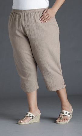 Crinkle Cotton Crop Solid Pants
