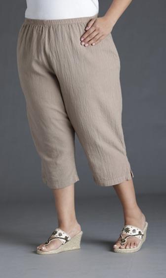 Crinkle Cotton Crop Solid Pants