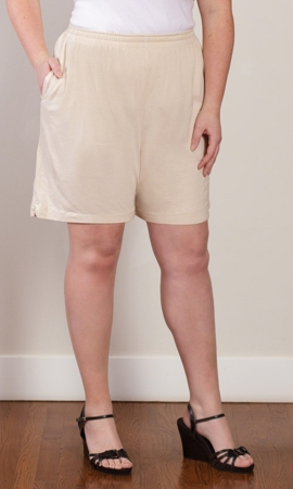 Crinkle Cotton Solid Shorts