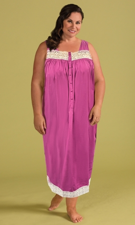 100% Cotton Ultra Soft Lace Trim Sleeveless Plus Size Tank Nightgown