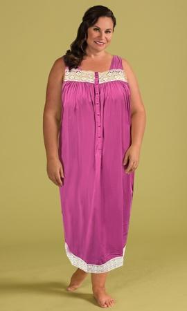 Orchid Purple 100% Cotton Ultra Soft Lace Trim Sleeveless Plus Size Tank Nightgown