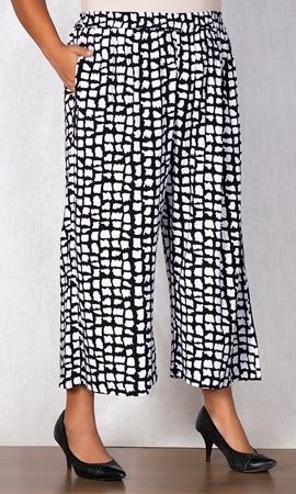 Print Rayon Crop Pants