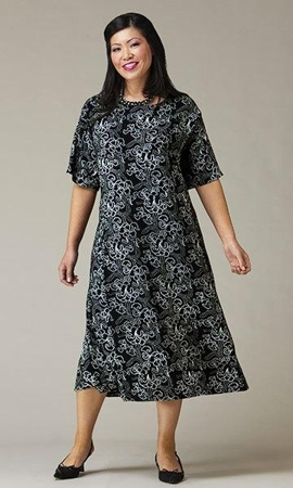 Print 100% Rayon Short Sleeve Venus Dress