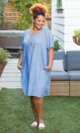 Pleated 100% Rayon Short Sleeve Round Neck Arianna Dress