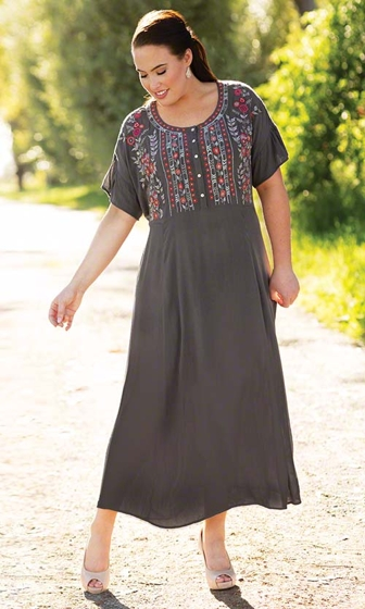 Sale Haidee Short Sleeve Embroidered Dress
