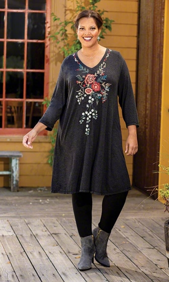 Naveah Long Sleeve Embroidered Dress