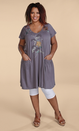 Floral Embroidered 100% Cotton Short Sleeve Dress
