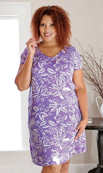 Print 100% Rayon Short Sleeve V-Neck Briella Dress