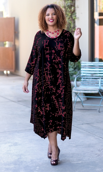 Sale Hand Batik 100% Rayon Long Sleeve Edyth Dress