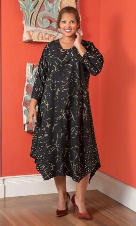 Edyth Long Sleeve Batik Plus Size Dress 2X-8X