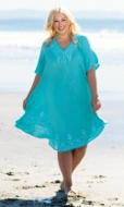 Embroidered Cotton Rayon Short Sleeve Pearl Dress