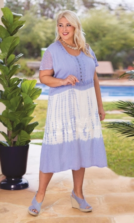 Maeve Tie Dye Short Sleeve Cotton Rayon Dress
