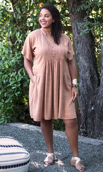 Embroidered Pleated Linen/Cotton Mandarin Collar Sonora Dress