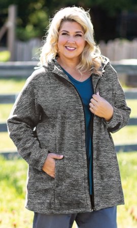 Lyddie Hooded Long Sleeve Zip Up Fleece Jacket
