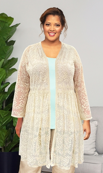 Long Sleeve Mesh Lace Betty Duster