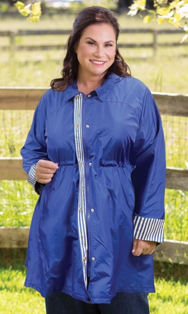 Long Sleeve Adjustable Cinch Waist Raincoat with Removable Hood