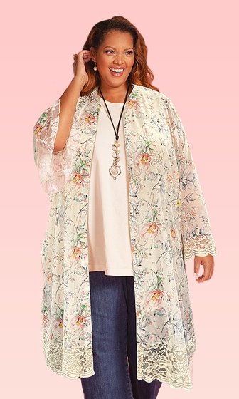 Printed Long Sleeve Lace Chiffon Stevie Duster