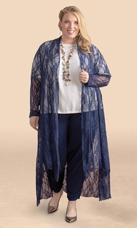 Sale Lace Solid Long Sleeve Duster