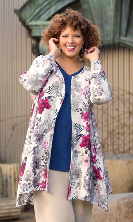 Pompidou Long Sleeve Plus Size Duster 2X-8X