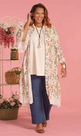 Stevie Long Sleeve Plus Size Duster 2X-8X