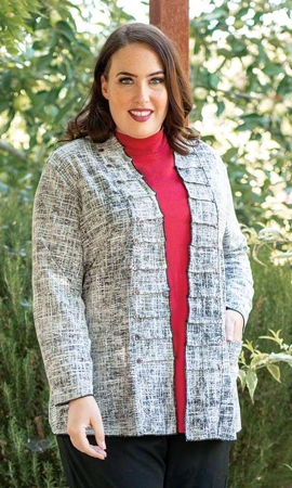 Long Sleeve Tallin Plus Size Reversible Jacket 0X-8X
