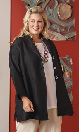 Lundy Solid Long Sleeve Silk Linen Plus Size Jacket 2X-8X