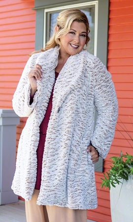 Alta Faux Fur Solid Long Sleeve Plus Size Jacket 2X-8X