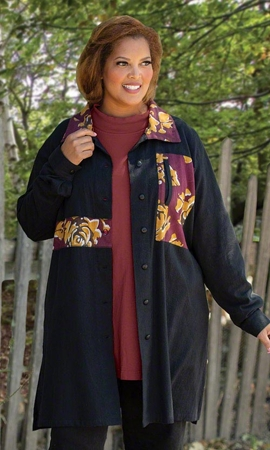 Eira Flannel Long Sleeve Button Up Plus Size Jacket 2X-8X