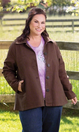 Twill Solid Long Sleeve Plus Size Jacket 2X-8X