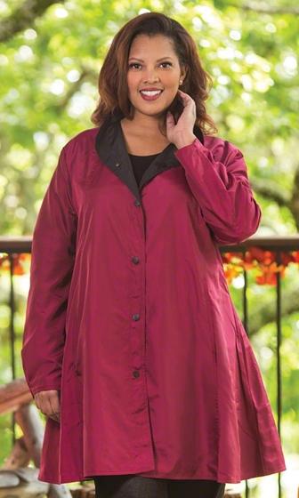 Mel Reversible Solid Long Sleeve Raincoat