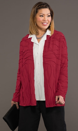 Wave Solid Long Sleeve Plus Size Jacket 1X-8X