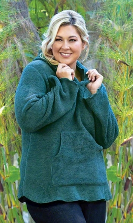 Hooded Chenille Solid Long Sleeve Plus Size Pullover 2X-8X