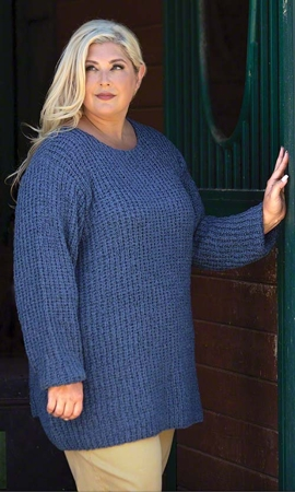 Cypress Solid Long Sleeve Knitted Plus Size Sweater 2X-8X