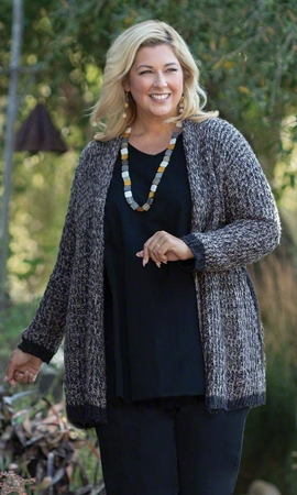 Evelyn Drape Solid Long Sleeve Knitted Plus Size Cardigan 2X-8X