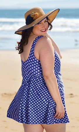 Sale Polka Dot Chlorine Resistant One Piece Swimdress