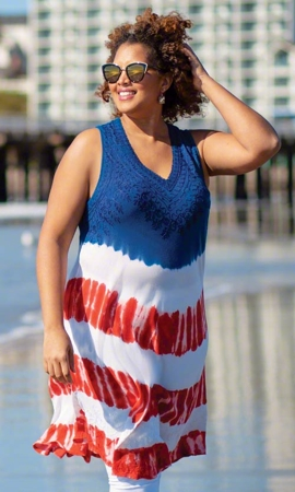 Liberty Sleeveless Plus Size Cover Up 1X-8X