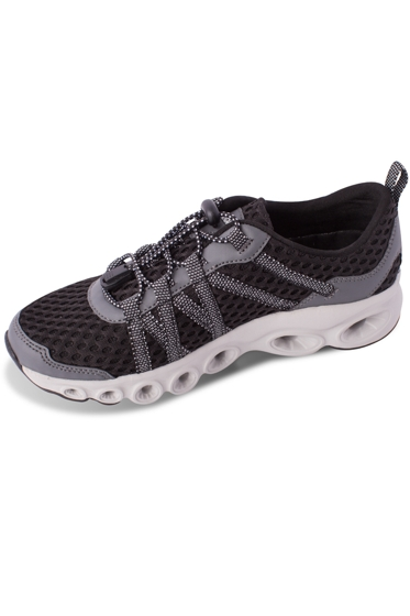 Chlorine Resistant Aquamore Black and Grey Zip Tie Women's Water Shoe