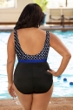 Chlorine Resistant Aquamore Swimmer Dot Blue and Black Plus Size Print Block Scoop Neck One Piece Swimsuit