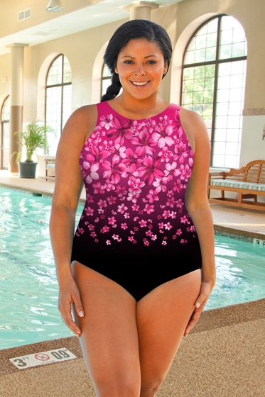 Chlorine Resistant Aquamore Pink Flower Rain Plus Size High Neck One Piece Swimsuit