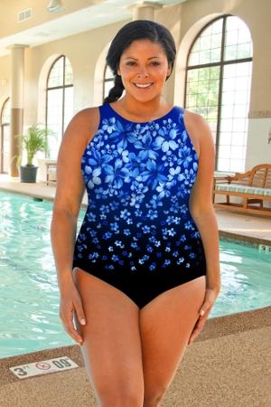 Chlorine Resistant Aquamore Blue Flower Rain Plus Size High Neck One Piece Swimsuit