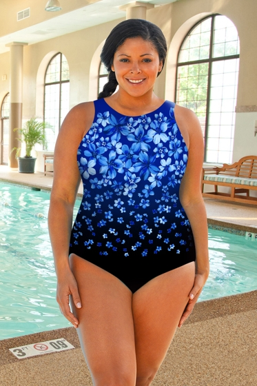 Chlorine Resistant Aquamore Blue Flower Rain Plus Size High Neck One Piece Swimsuit