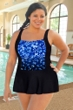 Chlorine Resistant Aquamore Blue Flower Rain Plus Size Skater Swimdress