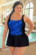 Chlorine Resistant Aquamore Wavy Dream Blue Plus Size Print Block Skater Swimdress