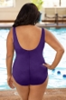 Chlorine Resistant Aquamore Purple Plus Size High Neck One Piece Swimsuit