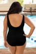 Chlorine Resistant Aquamore Solid Black Plus Size Scoop Neck One Piece