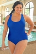 Chlorine Resistant Aquamore Solid Blue Plus Size Scoop Neck One Piece